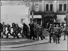 British paratroopers take away civil rights demonstrators on 'Bloody Sunday' after the paratroopers opened fire on a civil rights march, killing 14 civilians