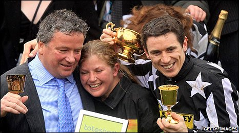 Nigel Twiston-Davies and Paddy Brennan enjoy the moment