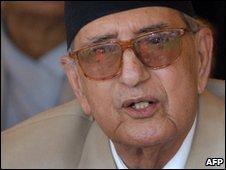 Former Nepalese Prime Minister Girija Prasad Koirala