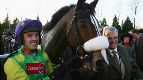 Kauto Star with jockey Ruby Walsh and owner Clive Smith