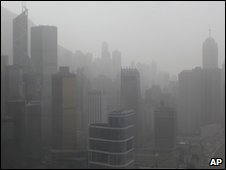 Air pollution over Hong Kong on 22 March 2010