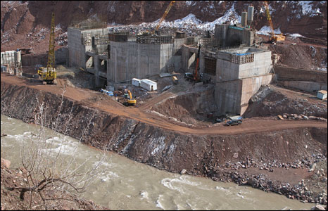 Construction at the Rogun hydropower project