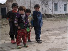 Children on a Tajik village road