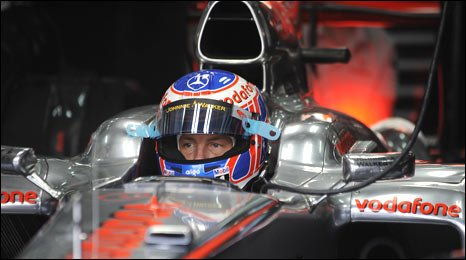 World champion Jenson Button in action in Bahrain