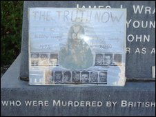 A handmade appeal on the base of the Bloody Sunday memorial in Derry