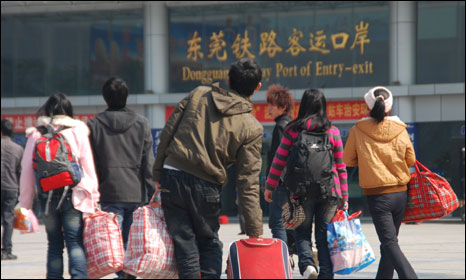 Migrant workers leaving Donguan