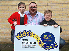 Grace Sellers and George Marriott with Toby Foster towards the end of the BBC Sheffield Kids' Scanner Appeal