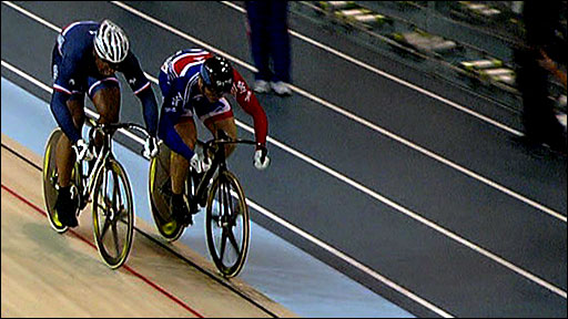 Chris Hoy is beaten by Gregory Bauge