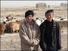 Herder couple in Mongolia in March 2010
