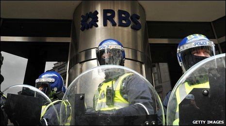 Police in front of RBS