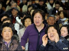 Relatives of missing crew members in Pyeongtaek, South Korea (29 March 2010)