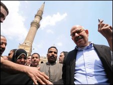 Mohamed ElBaradei after Friday prayers in Cairo