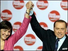 Silvio Berlusconi with Lazio centre-right candidate Renata Polverini at an election rally, 26 March 2010