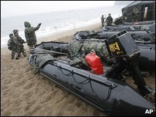 Search teams on Baengnyeong Island, South Korea (31 March 2010)