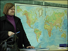 Zeljka Raguz teaches a geography lesson at Stolac high school