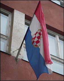 Croatian flag at the entrance to Stolac high school