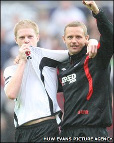 Alan Tate and Lee Trundle celebrate the last derby win