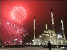 Fireworks explode over Grozny's new main mosque to mark the Prophet Muhammad's birthday, 26 February 2010