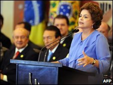 Dilma Rousseff speaking on 31 March