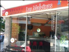 Ice-cream parlour in Argentina with the name Las Malvinas meaning Falkland Islands