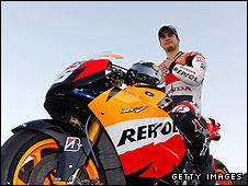 Dani Pedrosa poses with the factory Honda