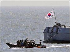 South Korean military rescue teams