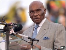 Senegal's President Abdoulaye Wade, Apr 4 2010
