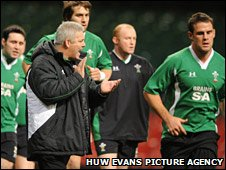 Wales coach Warren Gatland directs his squad