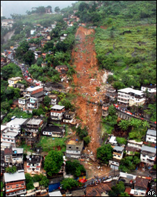 Landslide in the Morro dos Prazeres area of Santa Teresa, Rio de Janeiro (6 April 2010)