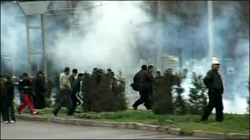 Tear gas in Bishkek