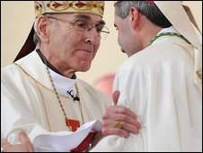 Image of Bishop Brian Noble and Bishop Mark Davies (image: Catholic Communications Network)