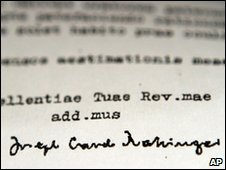 1985 letter with Cardinal Ratzinger's signature
