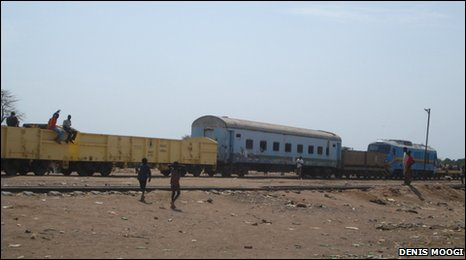 Train arriving in Aweil