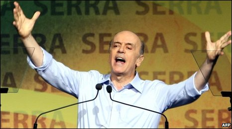 Jose Serra speaks to his PSDB party on 10 April