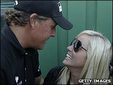 Phil Mickelson with wife Amy after his Masters win