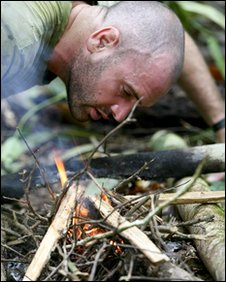 Ed Stafford lighting a fire