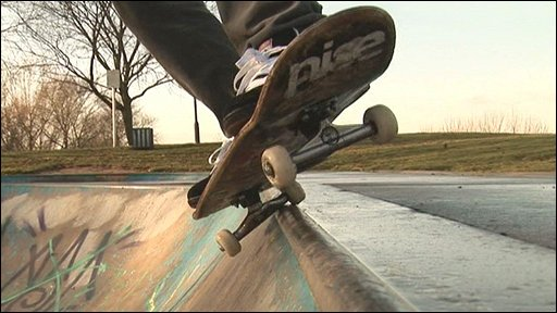 Skateboarder Will Golding in action at Arnold Bowl, Nottinghamshire