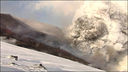 The erupting volcano