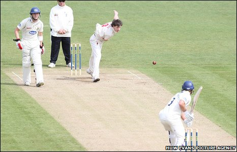 James Harris in bowling action