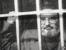 Abimael Guzman, jailed leader of Peru's Shinning Path rebel group (1992)
