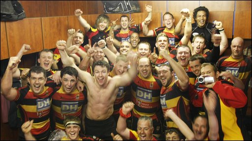 Carmarthen Quins celebrate their shock win in style