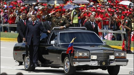 Hugo Chavez takes part in the celebrations
