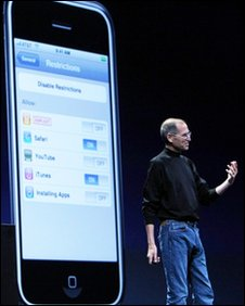Apple CEO Steve Jobs delivers the keynote address at the Apple Worldwide Web Developers conference June 9, 2008