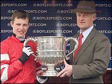 Winning jockey Paul Townend with Golden Silver's trainer Willie Mullins