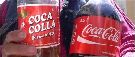 Coca Colla and Coca-Cola bottles