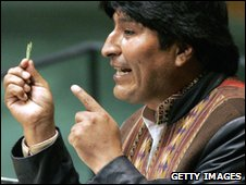 Evo Morales holding a coca leaf