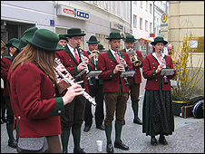Brass band in St Poelten for FPOe rally
