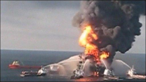 The Deepwater Horizon rig ablaze off Louisiana