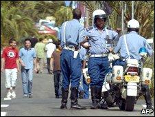Algerian police patrols in Algiers