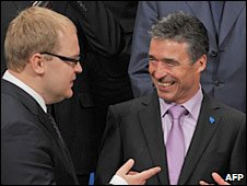 Estonian Foreing Minister Urmas Paet and Nato Secretary-General Anders Fogh Rasmussen in Tallinn